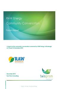 RAW Energy community conversation forum report
