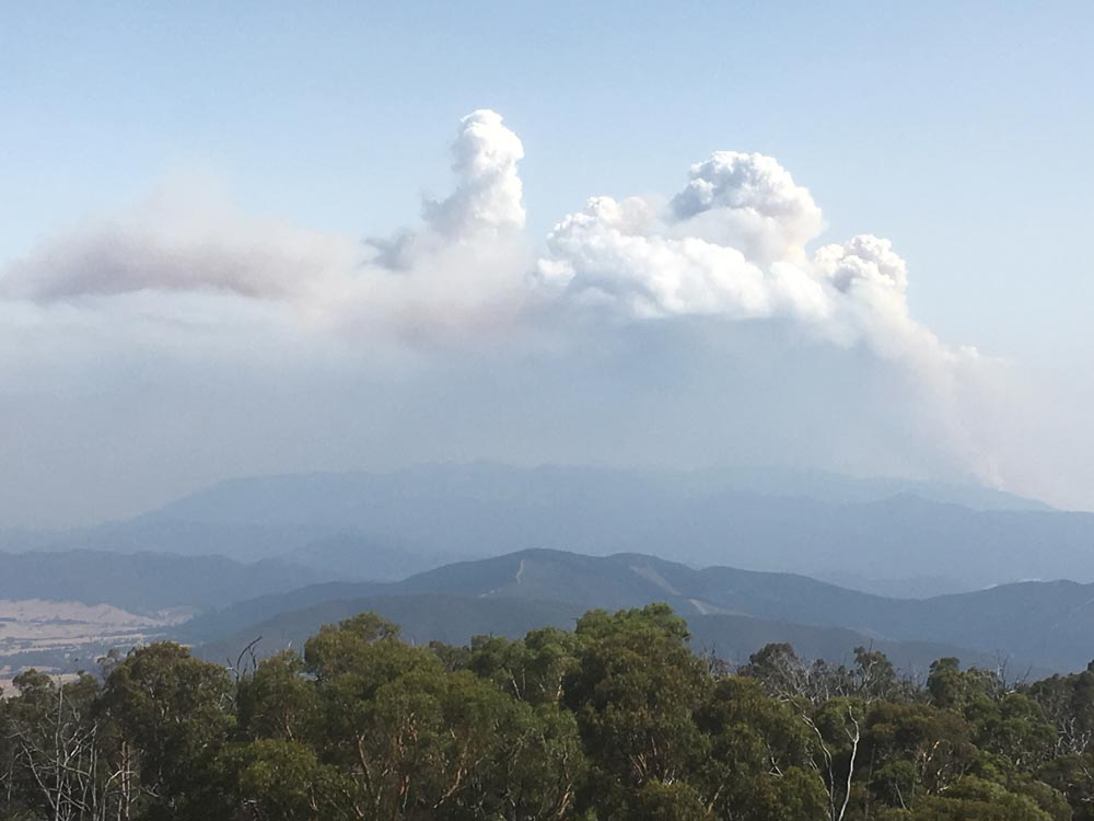 Mt Buffalo fires in the distance